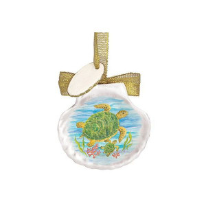 Scallop Shell Turtle Painting Ornament