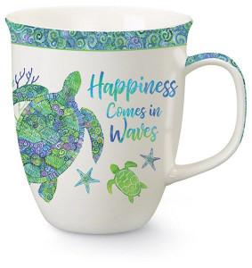 Happiness Comes In Waves Sea Turtle Mug - 15 oz.