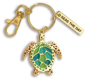 Seas The Day Sea Turtle Enamel Keychain