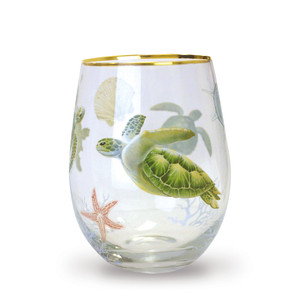 Honu Voyage Coastal Stemless Wine Glass