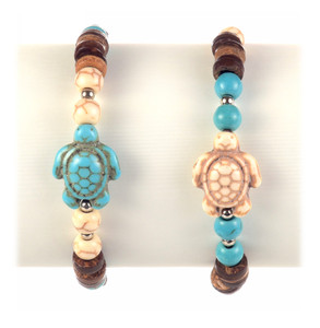 Howlite & Coco Shell Turtle Bracelet
