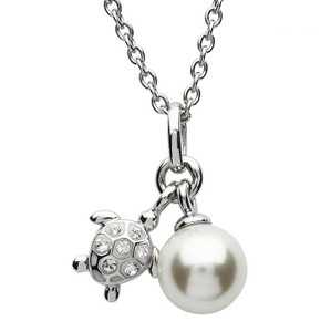 Turtle Necklace w/ Swarovski Crystals and Pearl - ShanOre