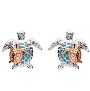 Mother & Baby Turtle Stud Earrings With Swarovski Crystals - ShanOre