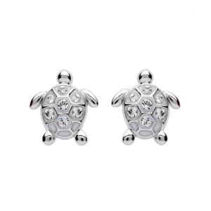 Stud Turtle Earrings with Swarovski Crystals