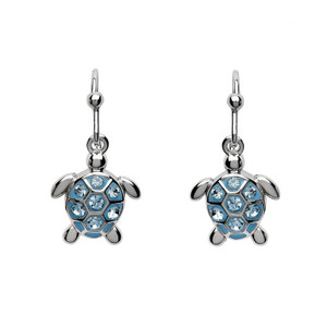 Turtle Drop Earrings with Aqua Crystals