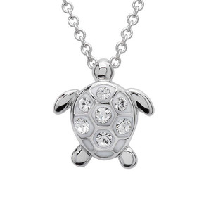 Turtle Pendant With Clear Swarovski Crystals