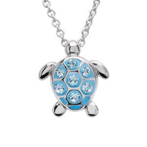 Sea Turtle Necklace With Aqua Swarovski Crystals - ShanOre