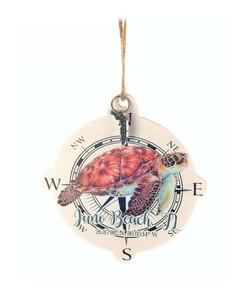 Sea Turtle Compass Wood Ornament