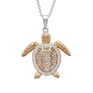 Rose Gold Turtle Swarovski Crystals Necklace - ShanOre