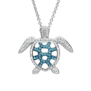 Sterling Sea Turtle Pendant Teal Swarovski Crystals