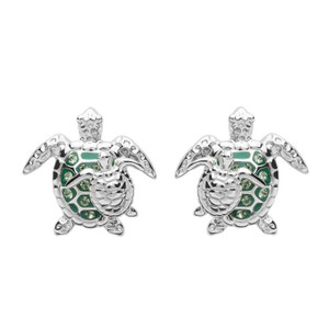 Green Turtle & Baby Stud Earrings - ShanOre
