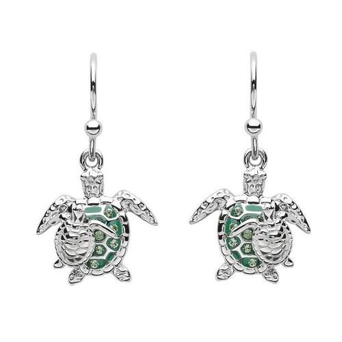 Green Turtle & Baby Drop Earrings