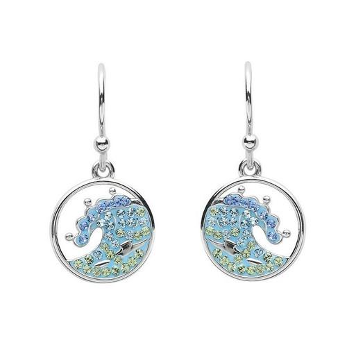 Blue Ocean Wave Drop Earrings