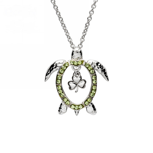 Shamrock Turtle Necklace with Peridot Crystals - ShanOre