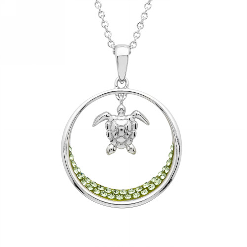 Circle Turtle Necklace With Green Swarovski Crystals - ShanOre