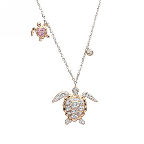 Baby and Mom Rose Gold Sea Turtle Necklace