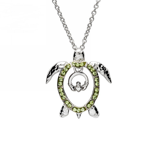 Claddagh Turtle Necklace with Peridot Crystals