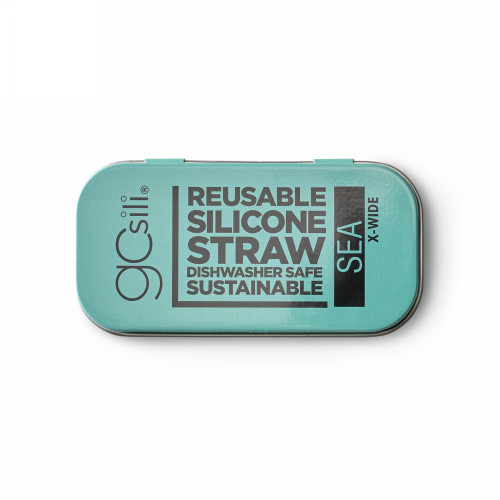 Extra Wide Silicone Reusable Straw with Case