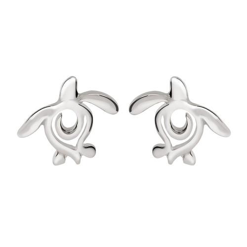"""""""Ocean Traveler"""" Sea Turtle Sterling Silver Post Earrings"""