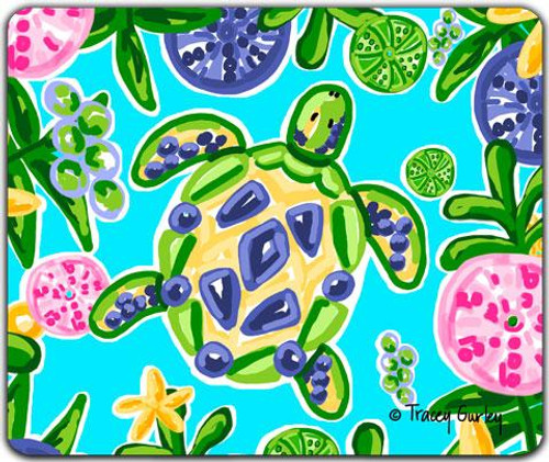 Blue & Yellow Sea Turtle Mouse Pad