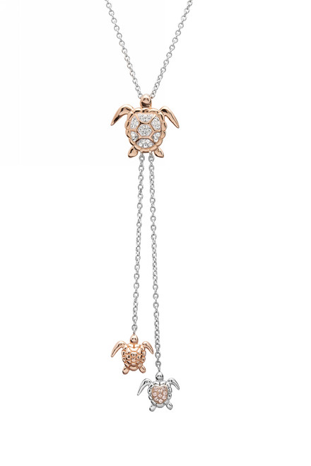 Rose Gold Turtle Mom and Hatchlings Drop Necklace