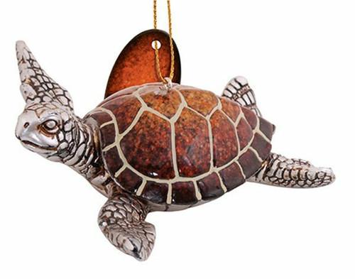 Sea Turtle Ornament - Brown/Orange Ombre Shell