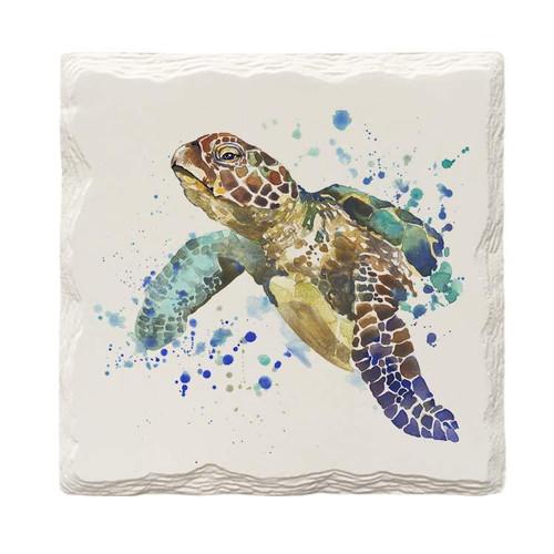 Watercolor Sea Turtle Coaster