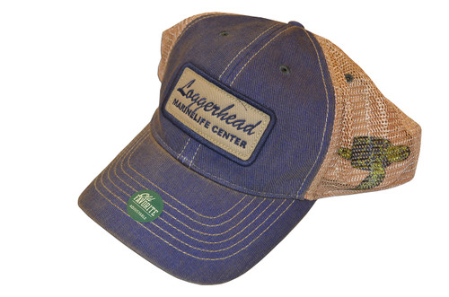 """Toss on this rustic, down-to-earth, trucker hat before heading outdoors for the weekend! With its simple yet classic design, this hat read """"Loggerhead Marinelife Center"""" on the front and features a sea turtle on the side"""