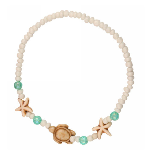 Starfish & Turtle Bracelet - Howlite, glass beads, seed beads