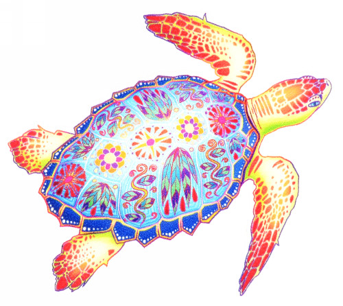 Free Style Artistic Floral Sea Turtle Decal