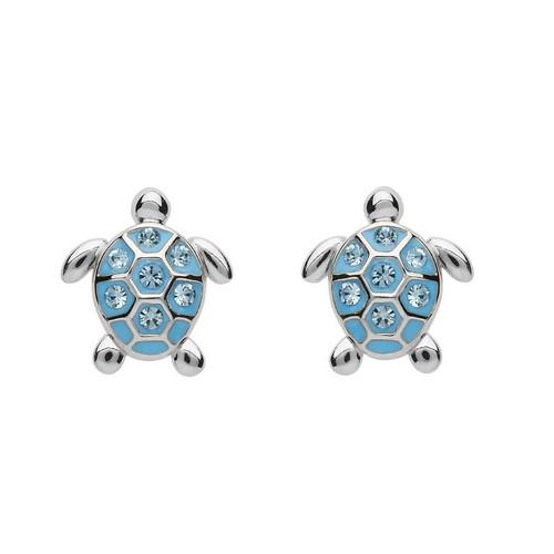 Stud Turtle Earrings with Aqua Swarovski Crystals