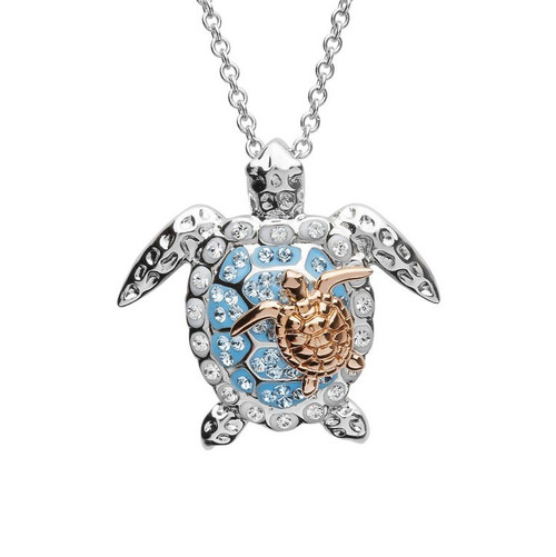 Mother & Baby Turtle Necklace With Swarovski Crystals - ShanOre