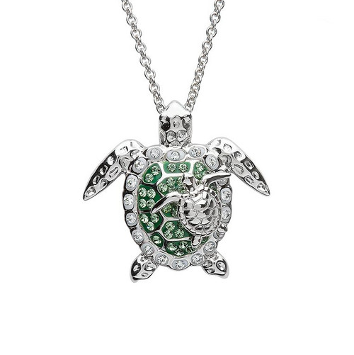Mother & Baby Turtle Necklace With Green Swarovski Crystals - ShanOre