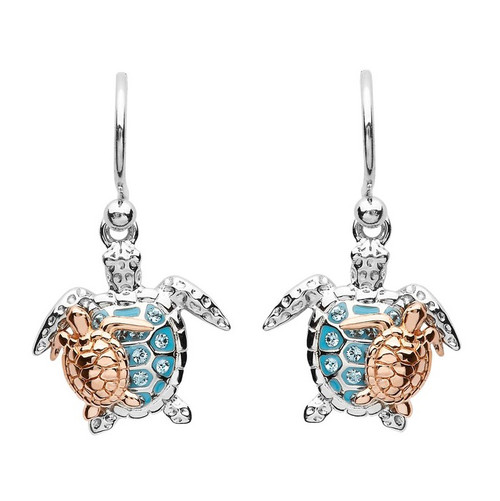 Mother & Baby Turtle Drop Earrings With Swarovski Crystals