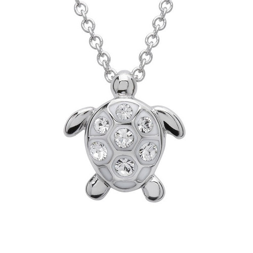 Turtle Pendant Medium Size With Clear Crystals