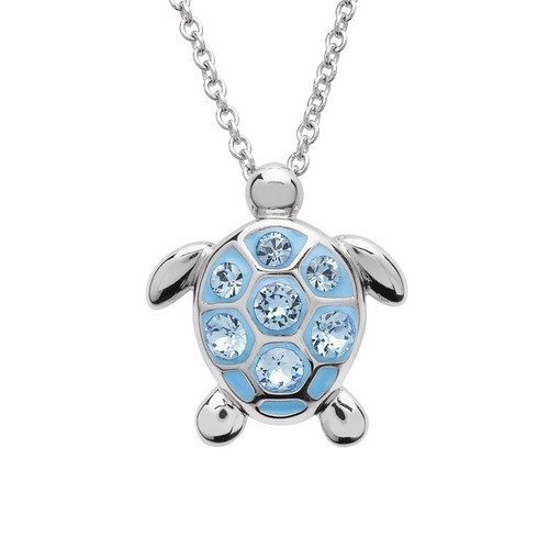 Sea Turtle Medium Size Necklace With Aqua Swarovski Crystals - ShanOre