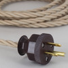 10ft Long Beige Twisted 18/3 SPT-2 Type UL Listed Twisted Powercord WITH BROWN PHENOLIC PLUG