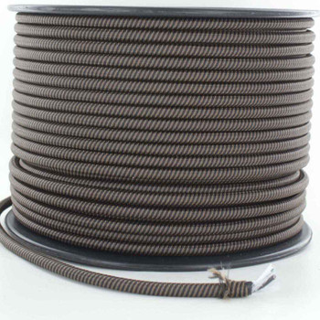 16/3 SJT-B Black/Brown Swirl Pattern Nylon Fabric Cloth Covered Lamp and Lighting Wire.