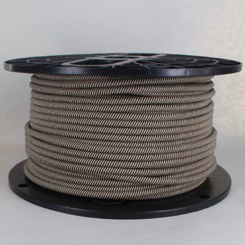 16/3 SJT-B Black/Beige Swirl Pattern Nylon Fabric Cloth Covered Lamp and Lighting Wire.