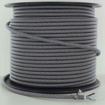 16/3 SJT-B Black/White Swirl Pattern Nylon Fabric Cloth Covered Lamp and Lighting Wire.