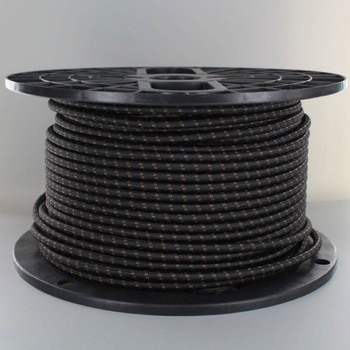 16/3 SJT-B Black/Brown 2 Tic Tracer Pattern Nylon Fabric Cloth Covered Lamp and Lighting Wire.
