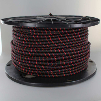 16/3 SJT-B Black/Red 2 Tic Tracer Pattern Nylon Fabric Cloth Covered Lamp and Lighting Wire.
