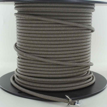 16/3 SJT-B Black/Beige Zig-Zag Pattern Nylon Fabric Cloth Covered Lamp and Lighting Wire.