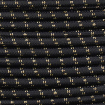 16/3 SJT-B Black/Gold 2 Tic Tracer Pattern Nylon Fabric Cloth Covered Lamp and Lighting Wire.