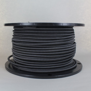 16/3 SJT-B Black/Gray Zig-Zag Pattern Nylon Fabric Cloth Covered Lamp and Lighting Wire.