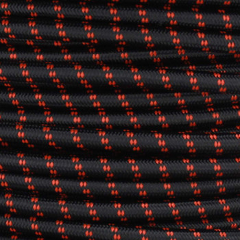 16/3 SJT-B Black/Safety Orange 2 Tic Tracer Nylon Fabric Cloth Covered Lamp and Lighting Wire.