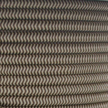 16/3 SJT-B Brown/Beige Zig-Zag Pattern Nylon Fabric Cloth Covered Lamp and Lighting Wire.