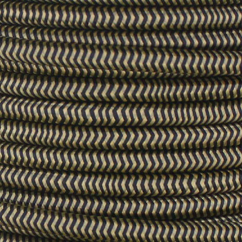 16/3 SJT-B Black/Gold Zig-Zag Pattern Nylon Fabric Cloth Covered Lamp and Lighting Wire.