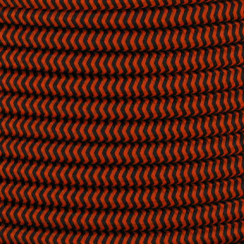16/3 SJT-B Black/Safety Orange Zig-Zag Pattern Nylon Fabric Cloth Covered Lamp and Lighting Wire.
