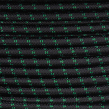 16/3 SJT-B Black/Green 2 Tic Tracer Pattern Nylon Fabric Cloth Covered Lamp and Lighting Wire.